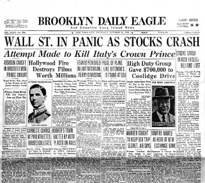 What happened when the stock market crashed in october 1929